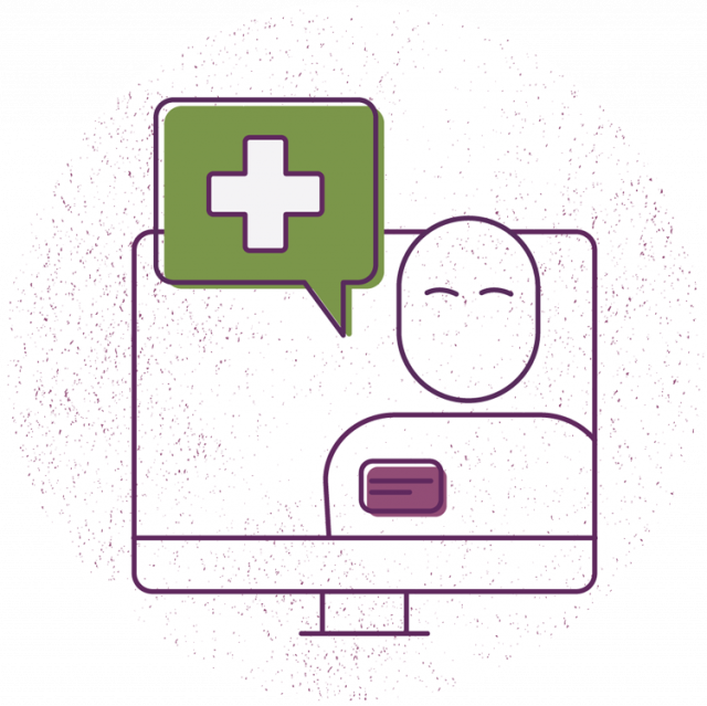 A graphic of a health provider on a computer screen wearing a name tag and accompanied by a green speech bubble with a cross in it.